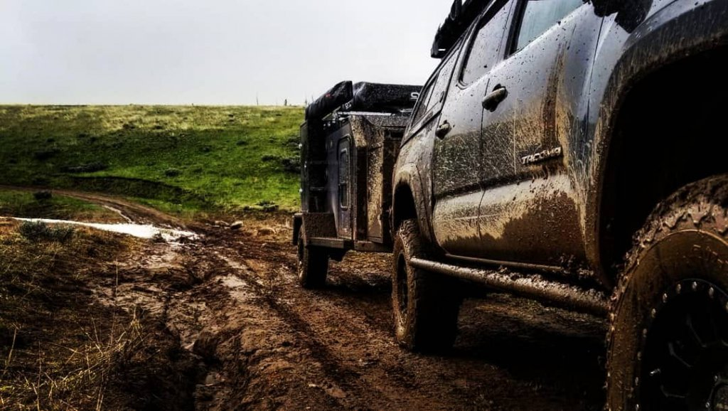 off road trailer in mud