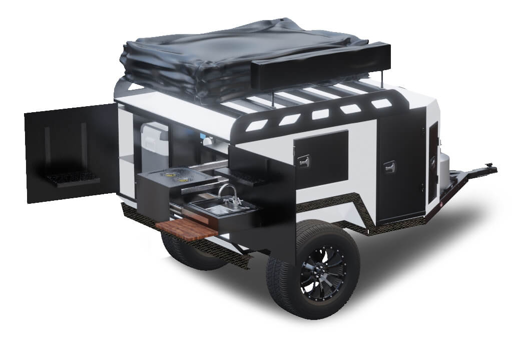 open back of off road utility trailer