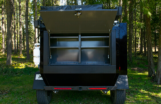 rear door of overland trailer