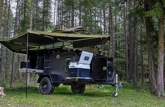 overland trailer with awning and roof top tent