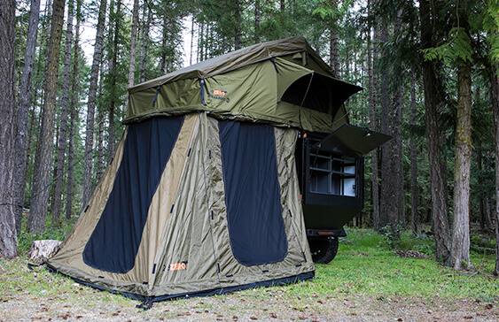 expedition off road trailer with roof top tent