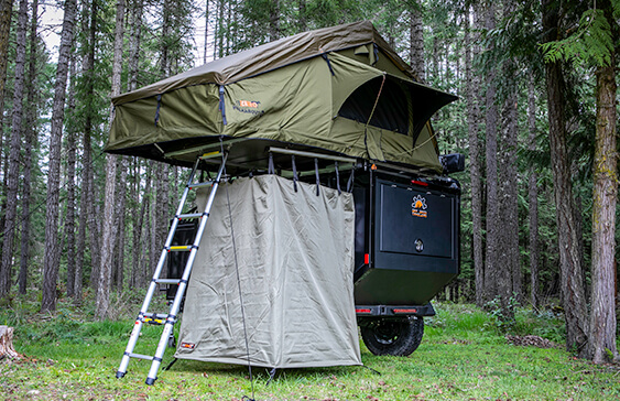 off road trailer with tent and shower