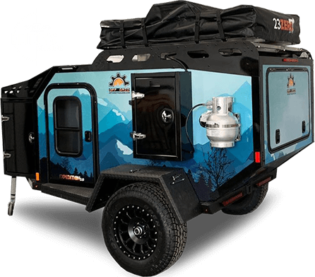 expedition overland trailer blue