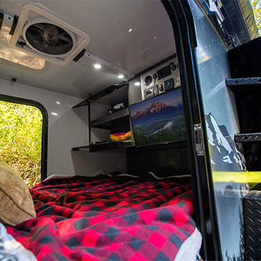 bed in off road teardrop camper