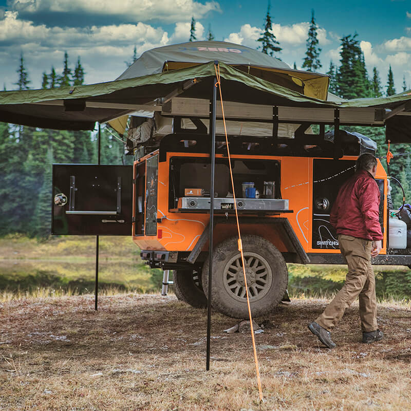 awning on overlanding utility trailer