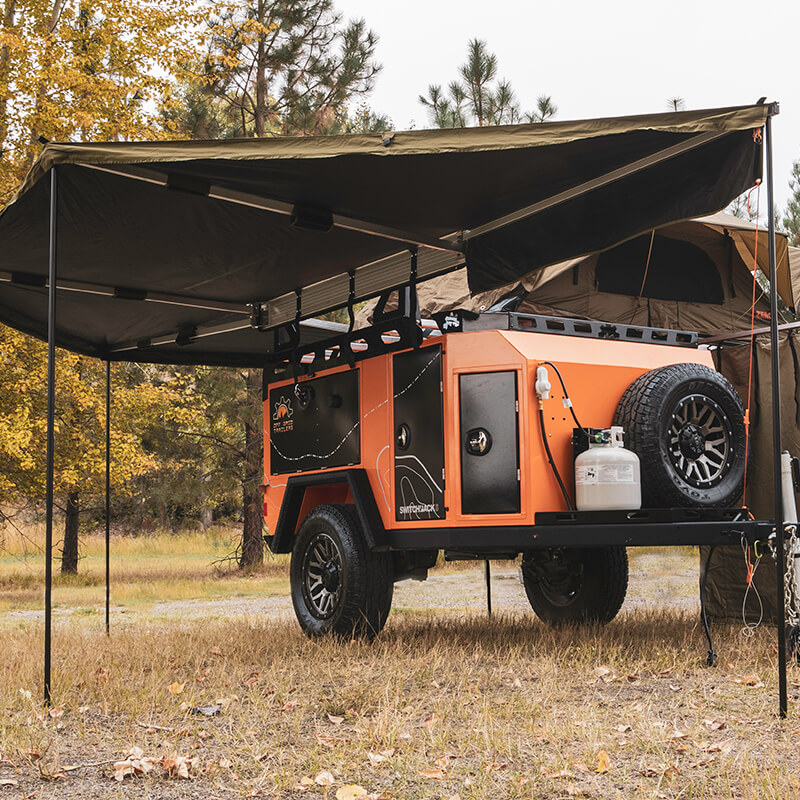 awning on off road utility trailer