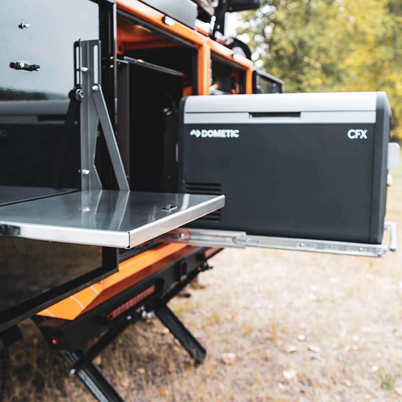 fridge in overlanding utility trailer