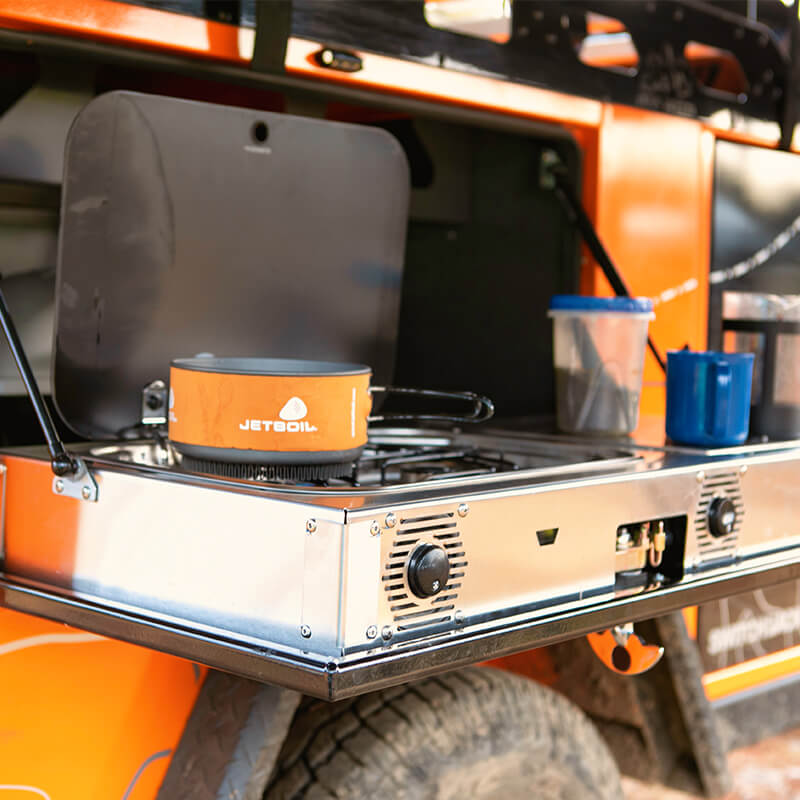 stove on off road utility trailer