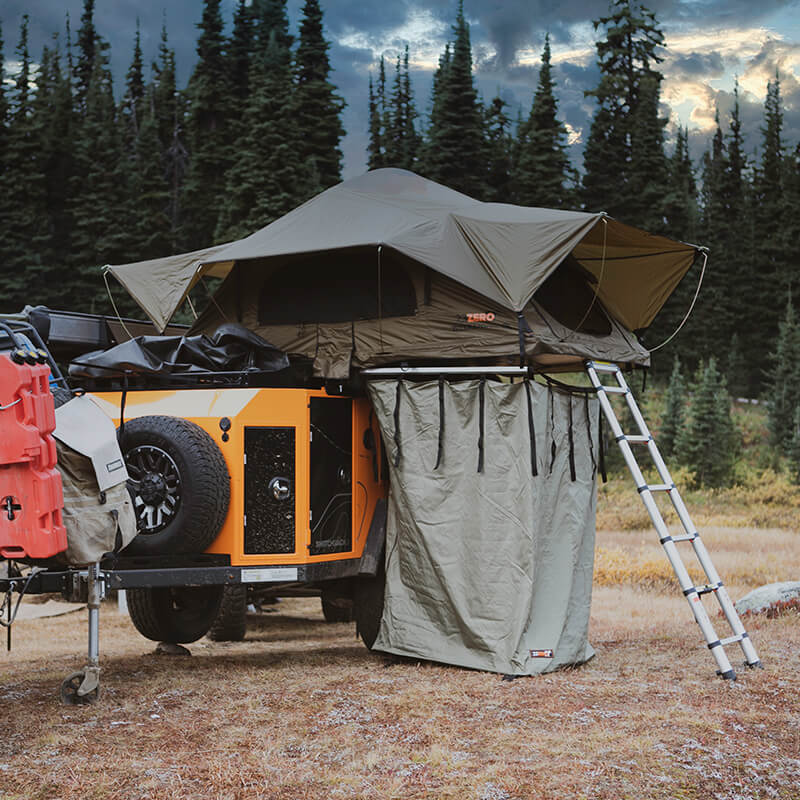 shower tent on off road utility trailer