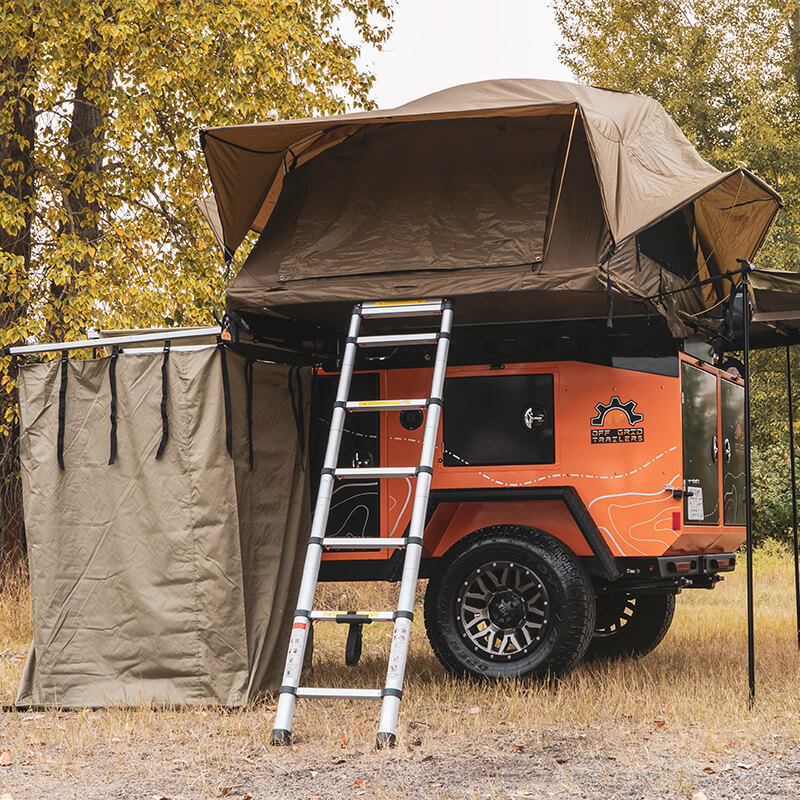 awning and shower tent off road utility trailer