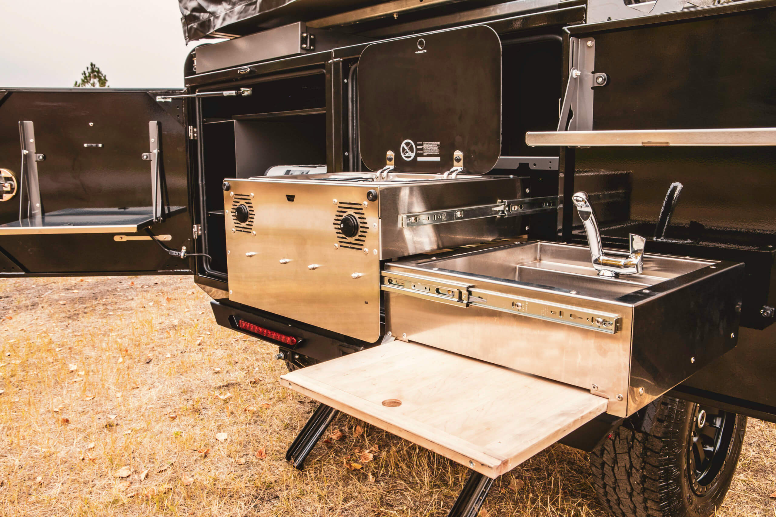 kitchen in overlanding trailer