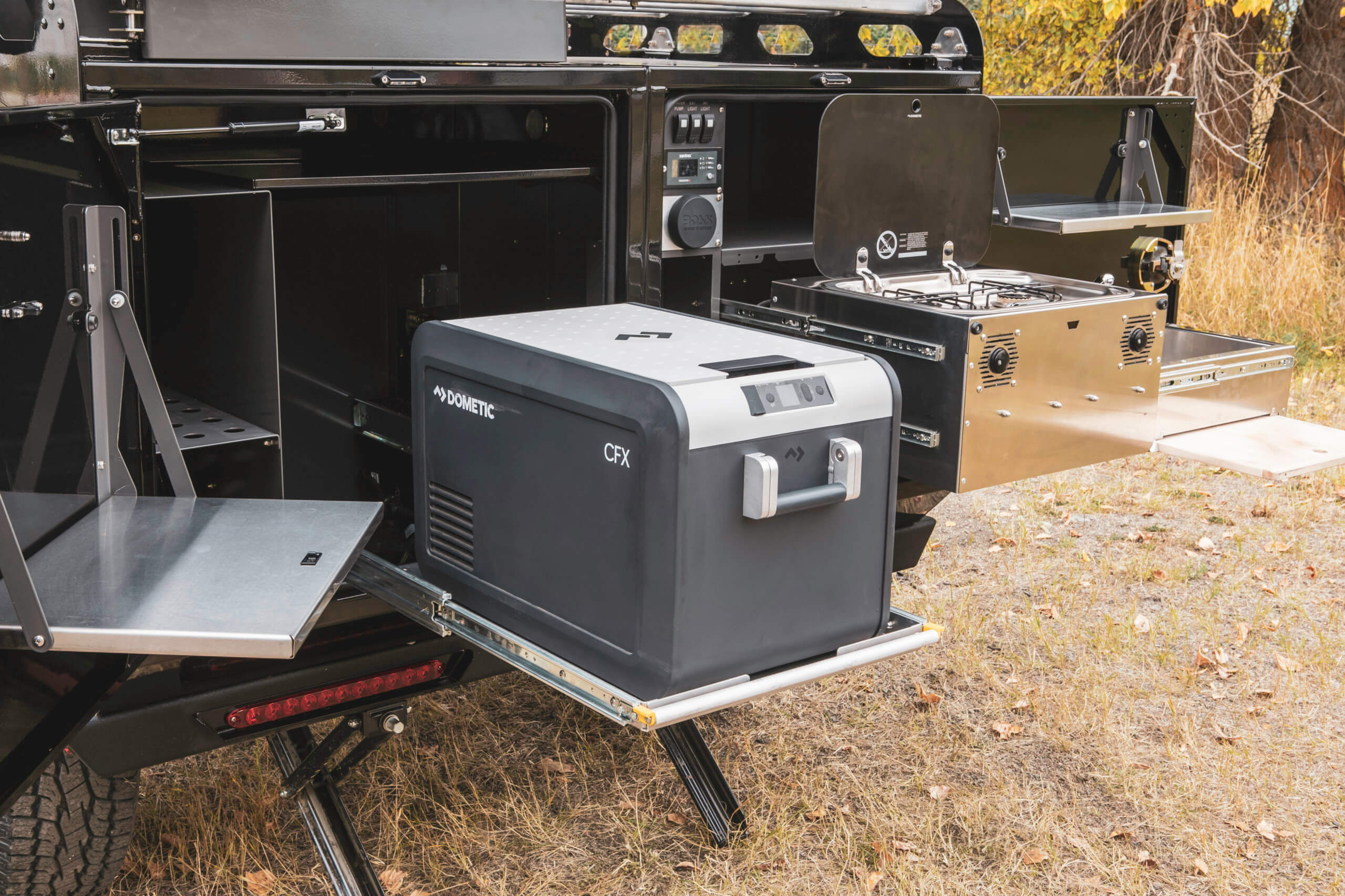 kitchen setup in off road camper